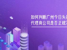 如何判断广州今日头条代理商公司是否正规?